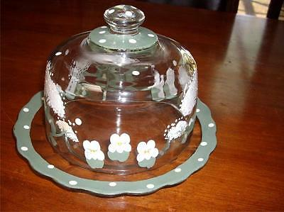 Vintage Cheese Butter Glass Dish With Dome Lid Handpainted - Very Good Condition