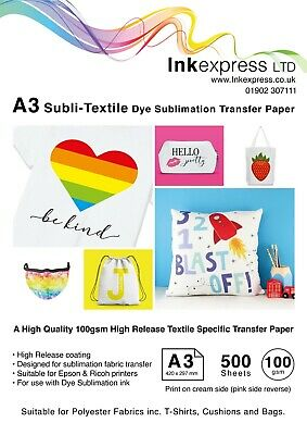 100gsm A3 Subli-Textile High Release Fabric Specific Sublimation Paper 50 sheet