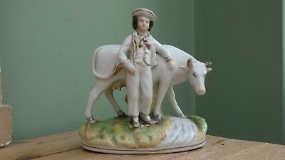 SUPERB 19thc STAFFORDSHIRE PORCELLANOUS FIGURE OF MALE WITH WHITE COW C.1870's