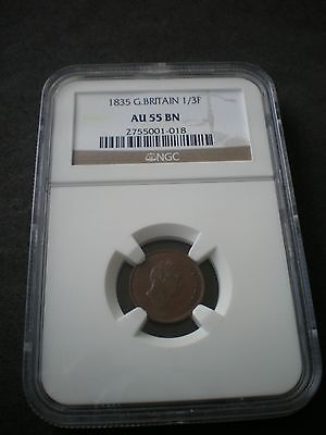 1835 King William IV Great Britain Third Farthing 1/3 1/4d Coin - NGC AU55BN