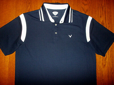 Callaway Short Sleeve Navy Blue Golf Polo Shirt Mens Large Excellent Condition