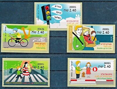 Israel 2017  Road Safety All Labels Issued Basic Rate Machine 001 Set Mnh