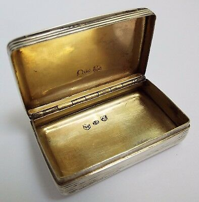 Lovely English Antique Georgian 1824 Solid Sterling Silver Snuff Box J Bettridge