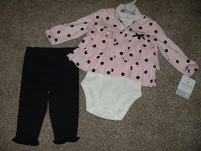 Carter's Baby Girls Pink Black Polka Dot 3pc Set Outfit Size 9 Months 9M NWT NEW