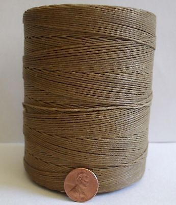 Waxed LINEN lacing 6 cord rug braiding weaving 6-ply flax twine - DARK TAN