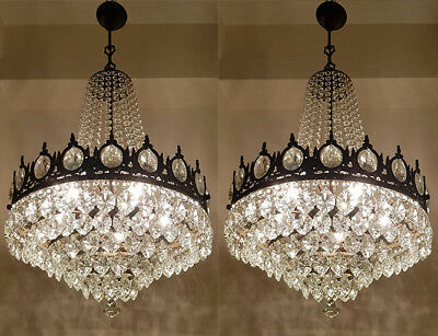 A Pair of Antique French Basket Style Brass & Crystals GIANT Chandeliers 1950's