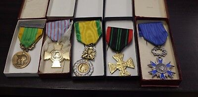 5x French MEDAL Military - Engage Volontaire - Croix du Combattant - resistance
