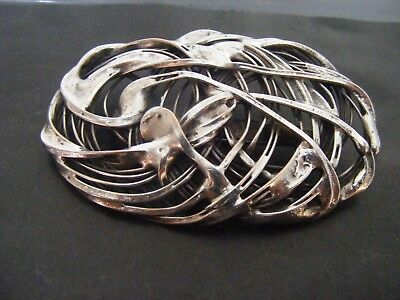 Antique Vintage White Metal Art Nouveau Brooch - Probably Norwegian