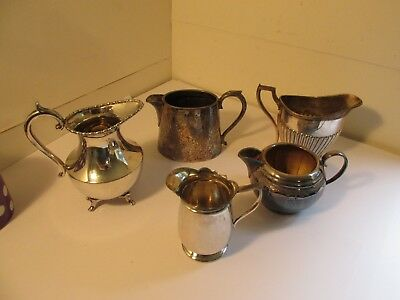 5 silverplated cream jugs job lot  c1900