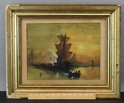 19c Antique CHARLES HENRY GIFFORD Sunset New Bedford Harbor Watercolor Painting