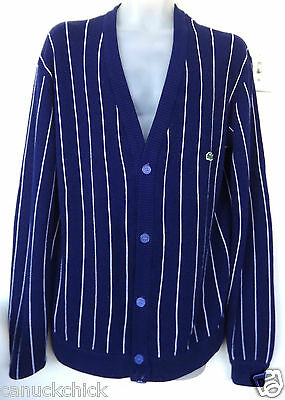 Mens L 42 44 Lacoste Vintage Cardigan Striped Classic Sweater Jacket Navy Blue