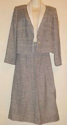 LOUIS FERAUD 2 pc Skirt SUIT Outfit Germany LINEN BLACK & WHITE Womens Small 8