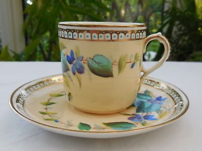 Very Rare Antique Hand Painted Aynsley Coffee Cup Can & Saucer c1875-90