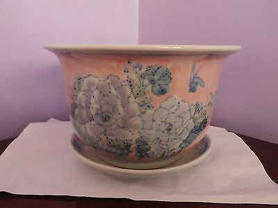 Large Chinese Pottery Flowers & Butterflies Design Plant Pot & Saucer 2O Cms Dia
