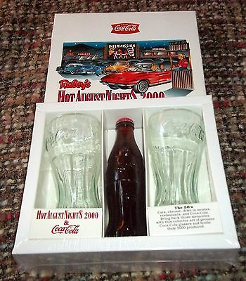 Raley's Hot August Nights Reno 2000 Coca-Cola Full Bottle Gift Set (Sealed) NWT