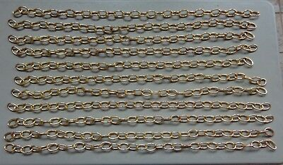 Vtg Salvage Metal Chain Links Shiny Brass Finish Lot of 11 Sections for Hanging