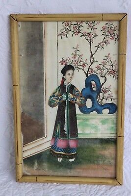 Antique 19thC Chinese Pith Rice Paper Painting of a Woman in Chinese Dragon Robe