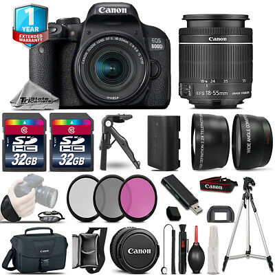 Canon Rebel 800D T7i DSLR Camera + 18-55mm IS STM - 3 Lens Kit + 32GB + Tripod