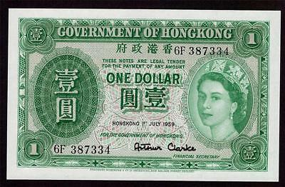 1959 Hong Kong One $1 Dollar banknote 6F 387334 Choice original UNC63