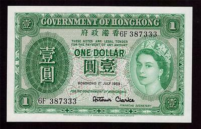 1959 Hong Kong One $1 Dollar banknote 6F 387333 Choice original UNC63