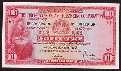 1966 Hong Kong HSBC $100 One Hundred Dollar note P183b 300529 UR AU58+