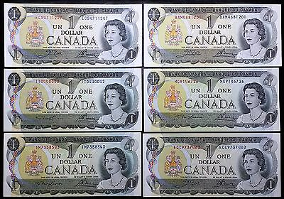Lot of 6x 1973 Bank of Canada $1 One Dollar Banknotes - Crisp Uncirculated
