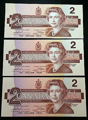 Lot of 3 Uncirculated 1986 Bank of Canada $2 Two Dollar Notes
