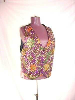 Vtg Beaded Vest by Ana Mori One Size Floral on Purple Fully Lined Snap Front