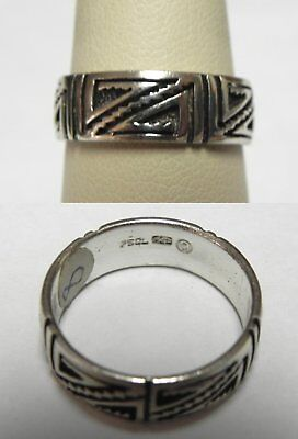 PS7 PSCL Signed PETER STONE Unisex Sterling Celtic Ring Band Sz 8