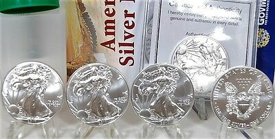 Lot of 5 Silver American Eagle Coins 1 oz .999 fine US $1 Dollar 2017 Brilliant.