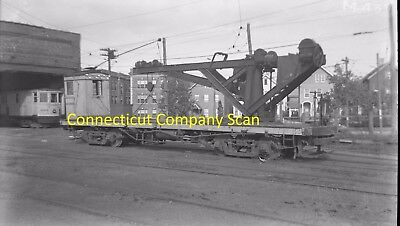 Connecticut Company Original B&w Trolley Negative Of Car 0199 New Haven In 1940