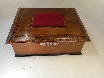 Antique Walnut Tunbridge Ware Bands Sewing Box  , ref 3070