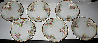 6 Beautiful Lanternier & Co. Limoges Butter Pats Pink Roses, Blue Ribbons, Gold