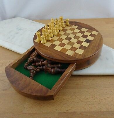 Gorgeous Round Wooden Magnetic Chess Set with Drawer, Travel Board Game
