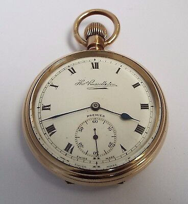 BEAUTIFUL CLEAN CONDITION ENGLISH ANTIQUE c1910 ROLLED GOLD POCKET WATCH WORKING