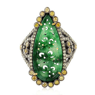 18k Gold Pave Diamond Sterling Silver Jade Ring Carved Gemstone Jewelry