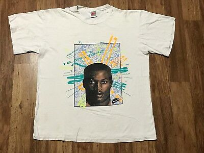 Vtg 90s Nike Bo Jackson Distressed 100% Cotton T-Shirt L/XL Made USA