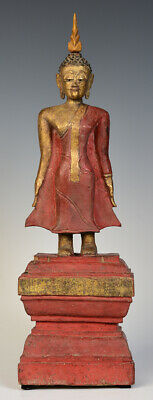 19th Century, Antique Lanna Thai Wooden Standing Buddha