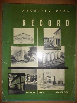 1948 Architectural Record Magazine Architecture Mid-Century Designs Engineering+