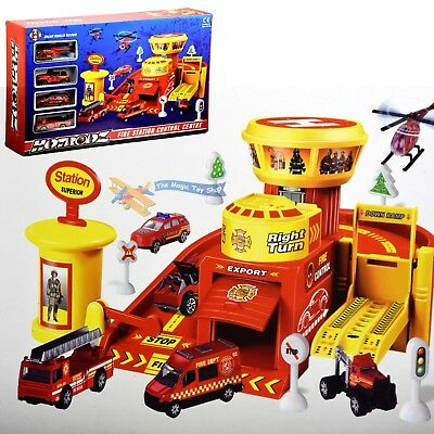Fire Station Control Center Play Set Toy Garage Ramp Diecast Cars Vehicles