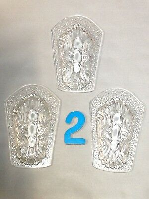 3 Vintage Embossed Glass Light Sconce Chandelier Fixture Slip Shade Insert Parts