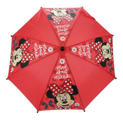 Disney Minnie Mouse Mad About Minnie Umbrella brolly Red Girls Official