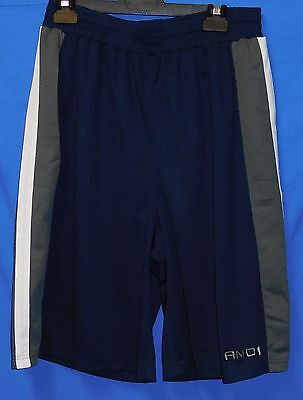 "New AND1 Basketball Navy Blue Shoot around Shorts Mens XL 34"" Grey Panels Match"
