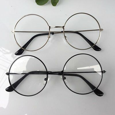 Large Oversized Metal Frame Clear Lens Round Circle Eyeglasses Lecture Glasses