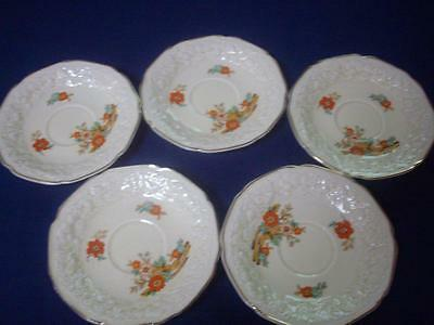 Crown Ducal Saucers Florentine 15cms Raised Embossed Floral Cream - Excellent