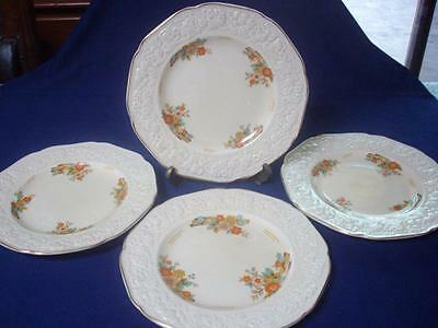 Crown Ducal Dinner Plate Florentine Raised Embossed Floral Cream 25cms- V Good
