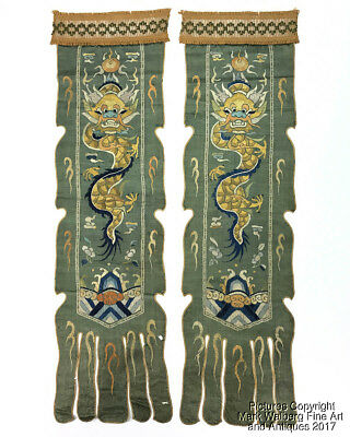 Pair of Chinese Green Silk Embroidered Banners, Dragon Panels, Late 19th Century