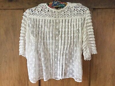 Vintage embroidered net blouse - short pin tuck sleeves/machine lace yoke