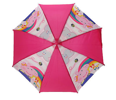 Peppa Pig Bee Happy Umbrella Kids Pink Fuchsia Rainy Day Brolly