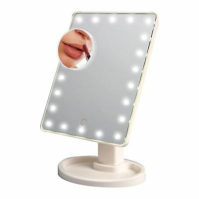 White 22 LED Light Illuminated Make Up Cosmetic Mirror With Small Magnification